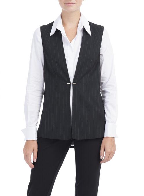 Sleeveless Stripe Print Blazer, Black, hi-res