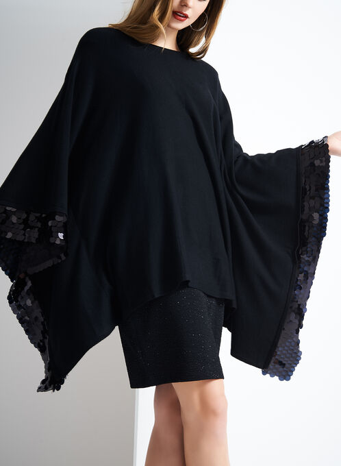 Sequined Knit Cape Sweater, Black, hi-res