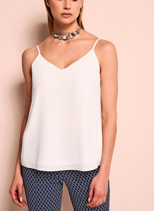 Double Layer Crepe Tank Top, Off White, hi-res