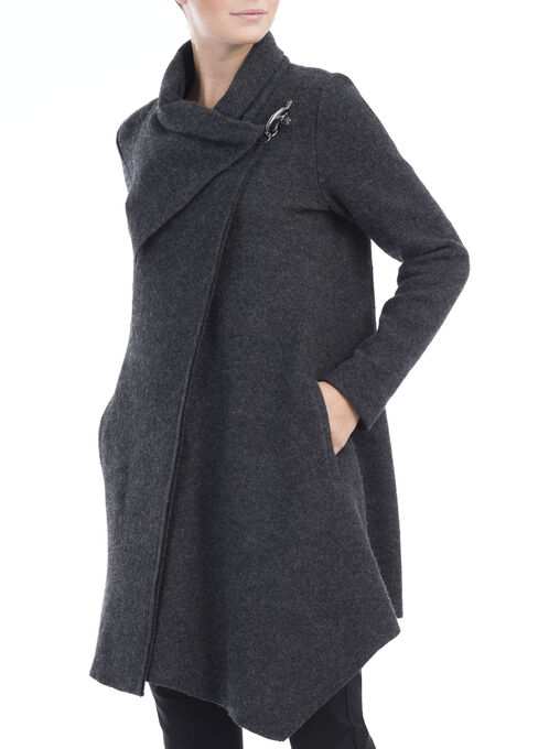 Linea Domani Wool Coat, Grey, hi-res