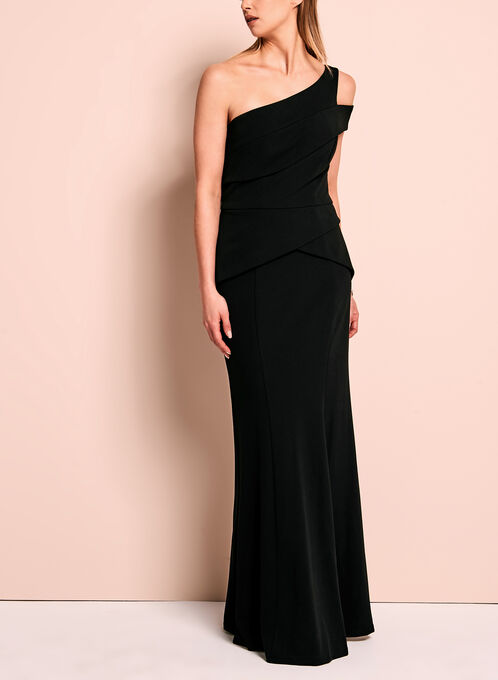 One Shoulder Peplum Crepe Gown, Black, hi-res