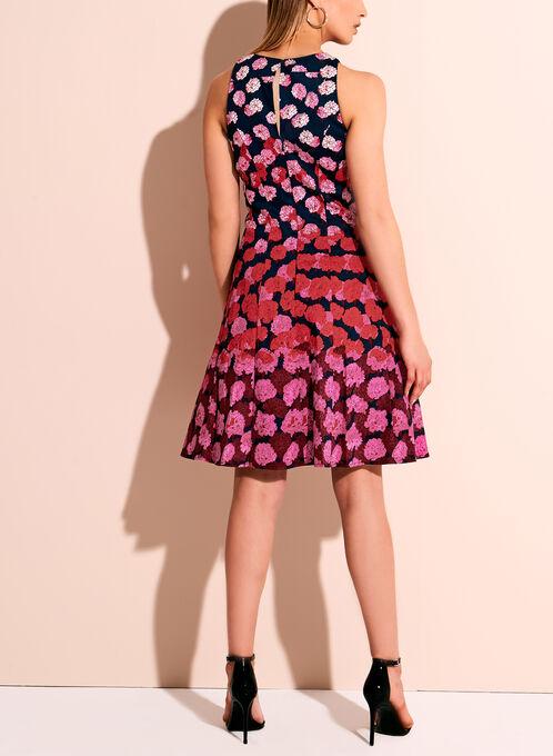 Maggy London - Floral Print Fit & Flare Dress, Blue, hi-res