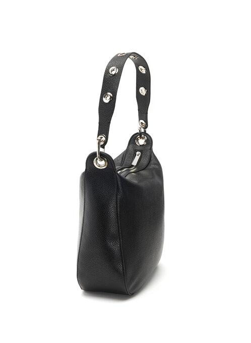 Faux Leather Eyelet Trim Handbag, Black, hi-res