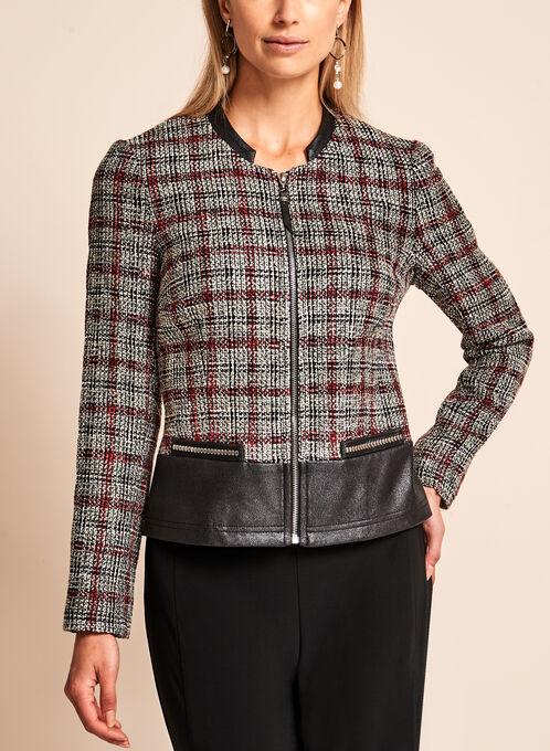 Vex Bouclé Plaid & Faux Leather Trim Jacket, Black, hi-res
