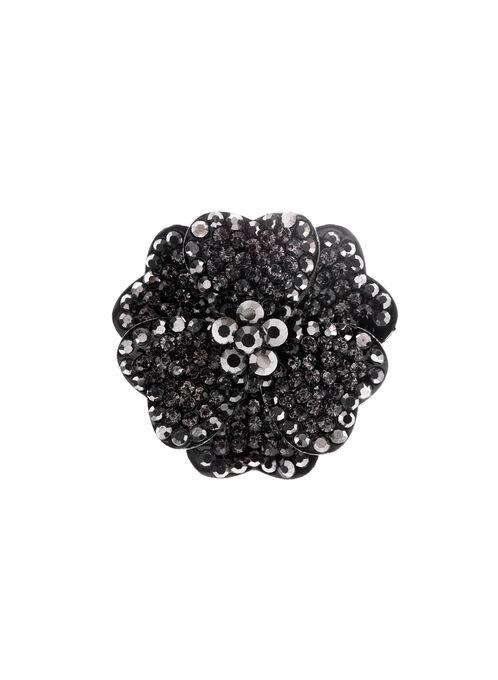Floral Crystal Pin, Grey, hi-res