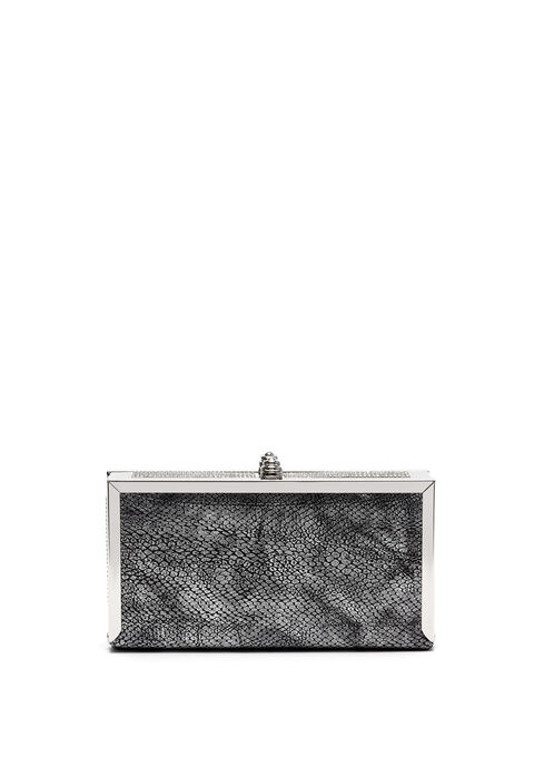 Faux Snakeskin Box Clutch, Gold, hi-res