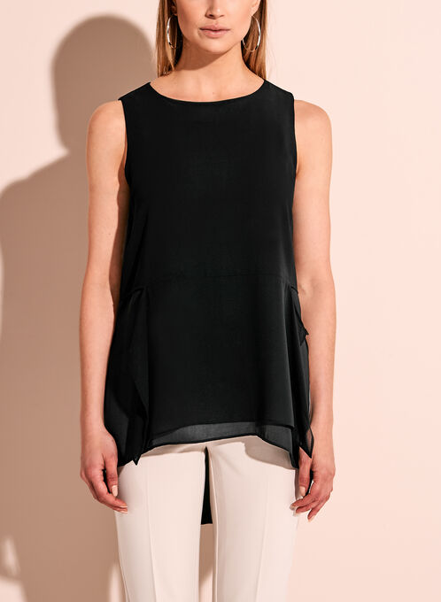 Sleeveless Double Layer Blouse, Black, hi-res