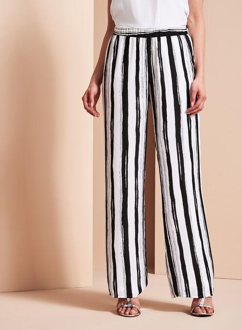 Pantalon à jambe large à rayures, Noir, hi-res