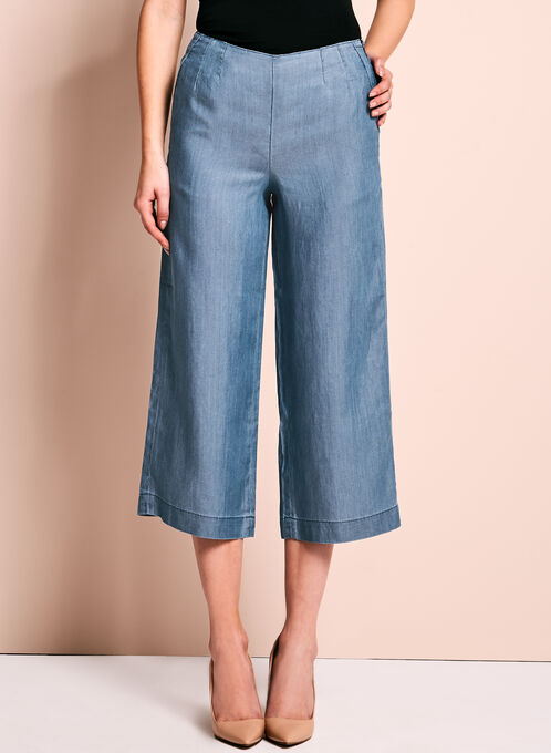 High-Waisted Cropped Culottes, Blue, hi-res