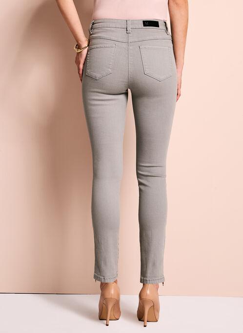 Zipper Trim Slim Leg Jeans, Grey, hi-res