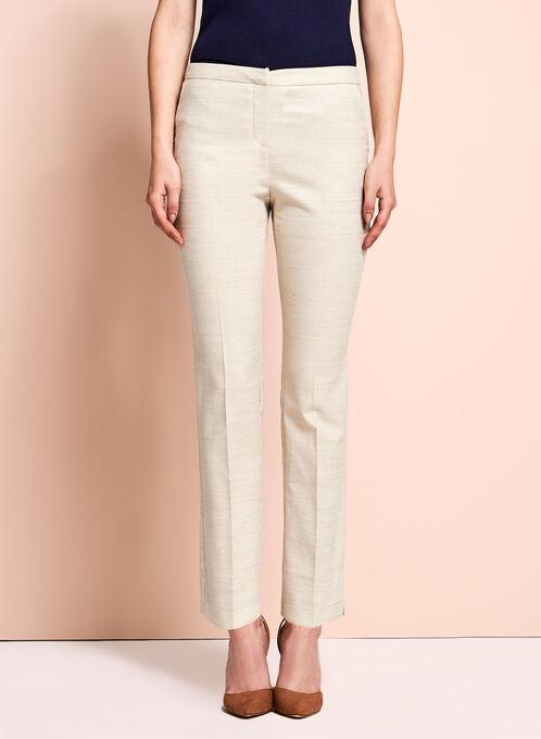 Pantalon à plis et jambe étroite en lin, Blanc cassé, hi-res