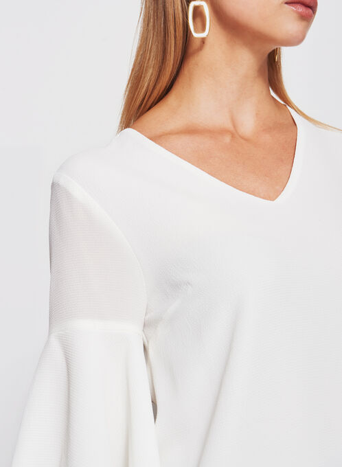 Bell Sleeve Crêpe Double Layer Top, Off White, hi-res