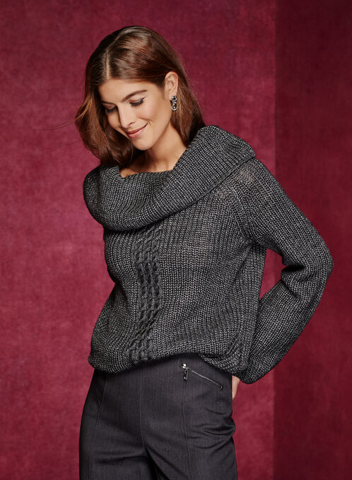 Pull en laine mélangée avec torsade et manches bouffantes, Gris, hi-res