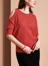 Scoop Neck Cold Shoulder Sweater, , hi-res