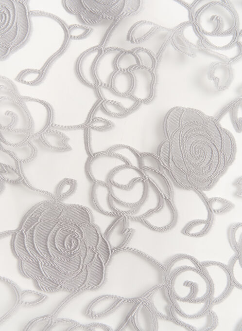 Sheer Rose Print Wrap Scarf, Silver, hi-res