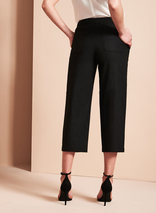 Straight Leg Linen Capris, Black, hi-res