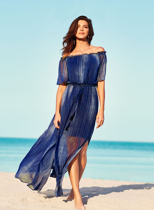 Off The Shoulder Maxi Dress, Blue, hi-res
