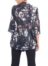 Pleated Chiffon Print Blouse, Black, hi-res