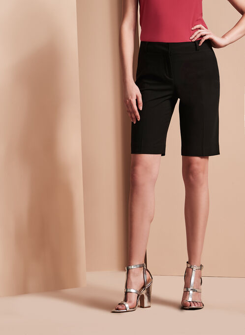 Solid Crepe Bermuda Shorts, Black, hi-res