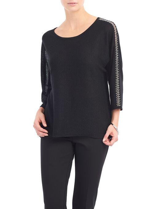 Dolman Sleeve Chain Insert Top, Black, hi-res
