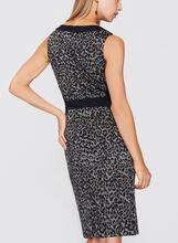 Leopard Print Sheath Dress, Black, hi-res