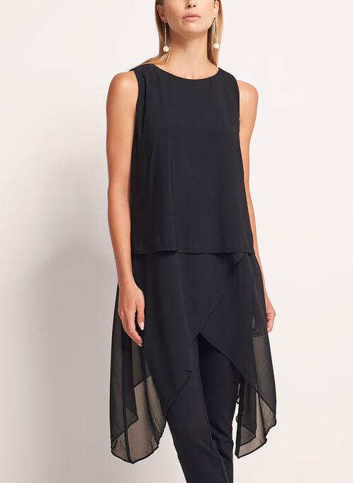 Asymmetric Chiffon Jersey Tunic, Black, hi-res
