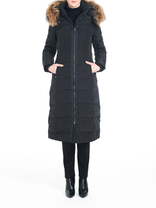Fur Trim Long Down-Filled Coat, Black, hi-res