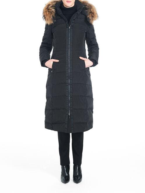 Fur Trim Long Down-Filled Coat, Black, hi-res