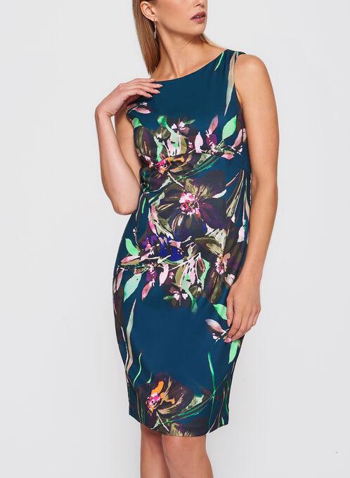 Ellen Tracy - Floral Print Scuba Dress, Multi, hi-res