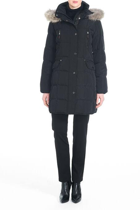 Fur Trim Down-Filled Multi-Pocket Coat, Black, hi-res