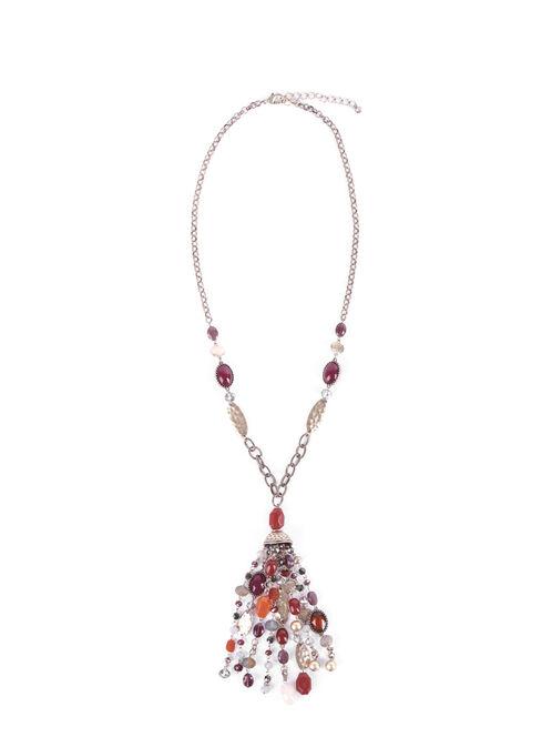 Multi Beaded Tassel Necklace , Red, hi-res
