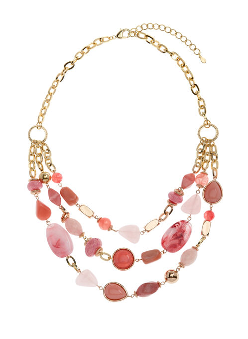 Collier 3 rangs avec pierres polies, Rose, hi-res