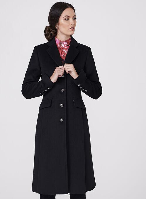 Novelti - Manteau en laine avec boutons militaires, Noir, hi-res