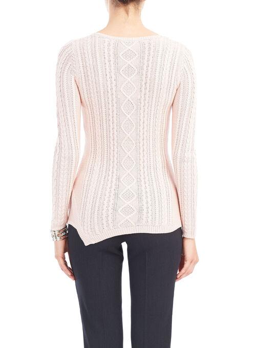 Asymmetrical Hem Knit Sweater, Pink, hi-res