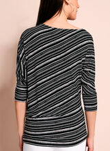 Asymmetric Stripe Print Top, Black, hi-res