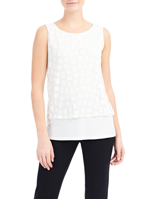 Sleeveless Mesh Overlay Top, Off White, hi-res