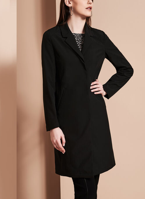Novelti - Notch Collar Banker Coat, Black, hi-res