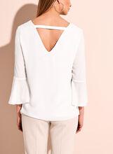 Ruffle Sleeve V-Neck Blouse, Off White, hi-res