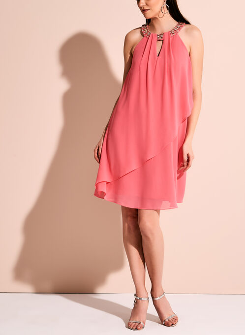 Vince Camuto Embellished Neck Keyhole Dress, Pink, hi-res