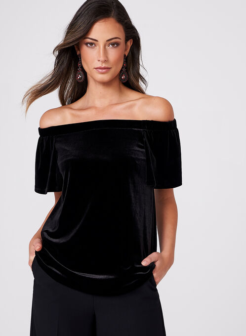 Frank Lyman - Off The Shoulder Velvet Blouse, Black, hi-res