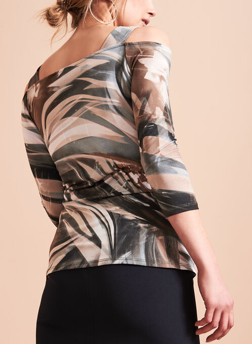 Abstract Print Cold Shoulder Top , Grey, hi-res