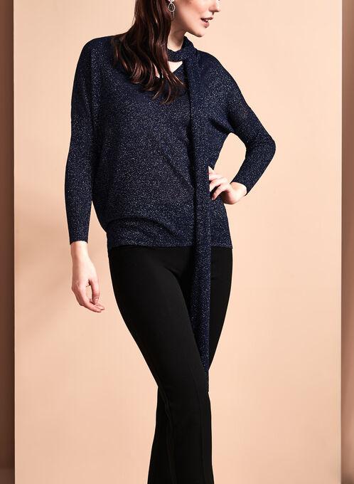 Lurex Scarf Trim Sweater, Blue, hi-res