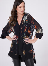 Floral Print 3/4 Sleeve High-Low Blouse, , hi-res