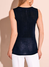 Sleeveless Asymmetric Drape Front Blouse, Blue, hi-res
