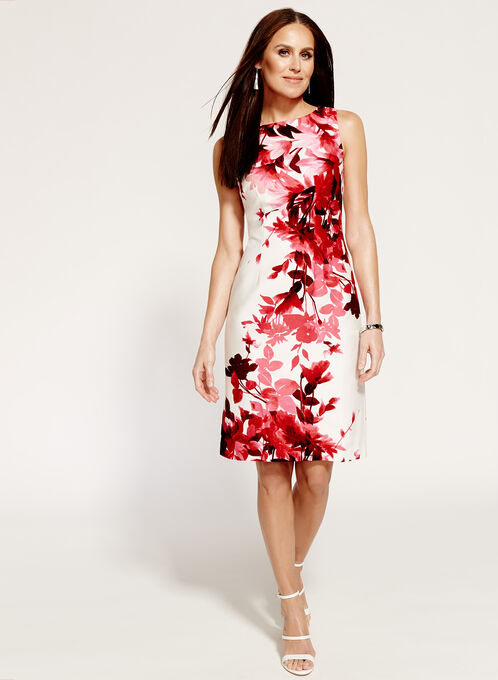 Sleeveless Floral Print Sheath Dress, Red, hi-res