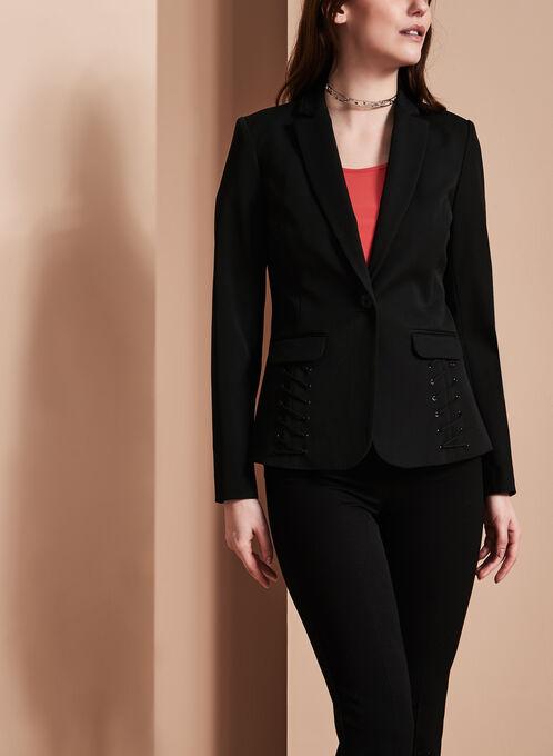 Notch Collar Cord Detail Blazer, Black, hi-res