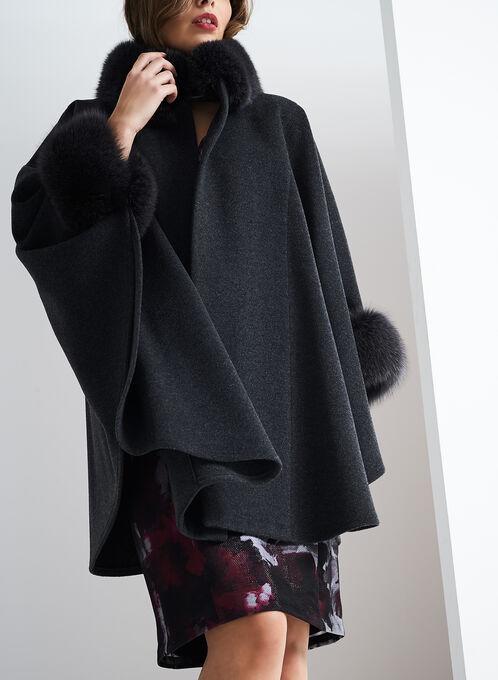 Mallia Wool & Fur Coat , Grey, hi-res