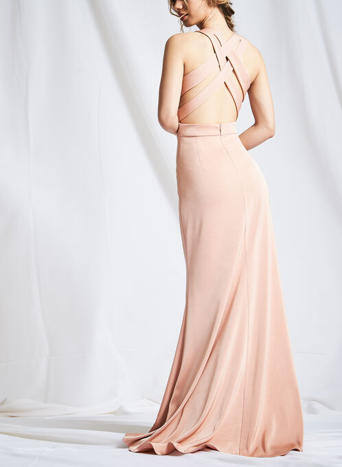 Cross Back Evening Gown, Pink, hi-res