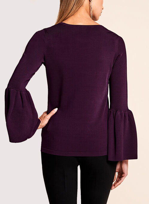 Bell Sleeve Pointelle Sweater, Purple, hi-res