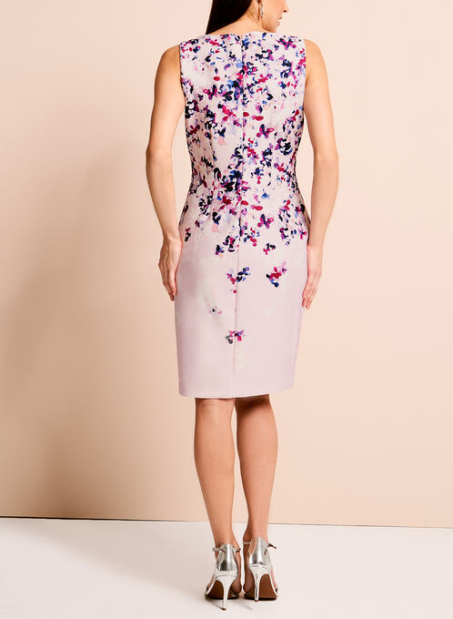 Ivanka Trump Floral Print Scuba Dress, Pink, hi-res